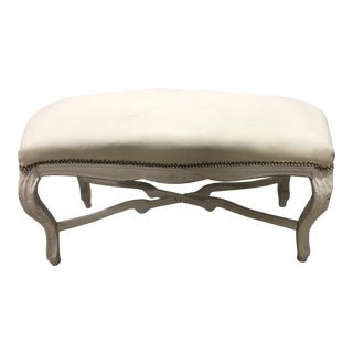 Vintage Louis XV Upholstered Curved Top Bench With Pedestal For Sale