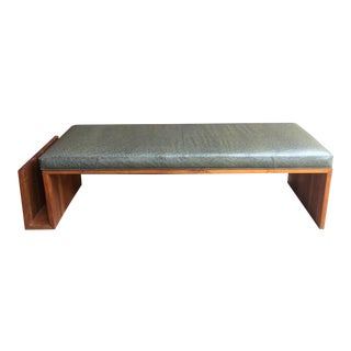 1960s Vintage Walnut Bench With Magazine Holder For Sale