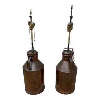 Vintage Brass Milk Pail Table Lamps - a Pair For Sale