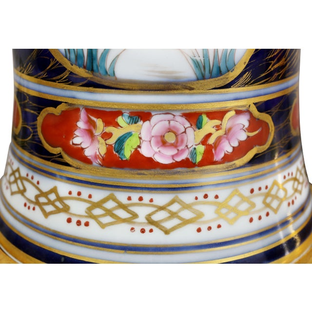 White Victorian Imari Pattern Table Lamps - a Pair For Sale - Image 8 of 11