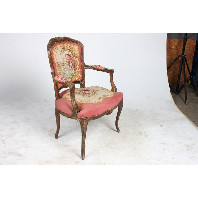 Vintage 1940s Louis XVI-Sty Needlepoint Fauteuil - Image 2 of 4