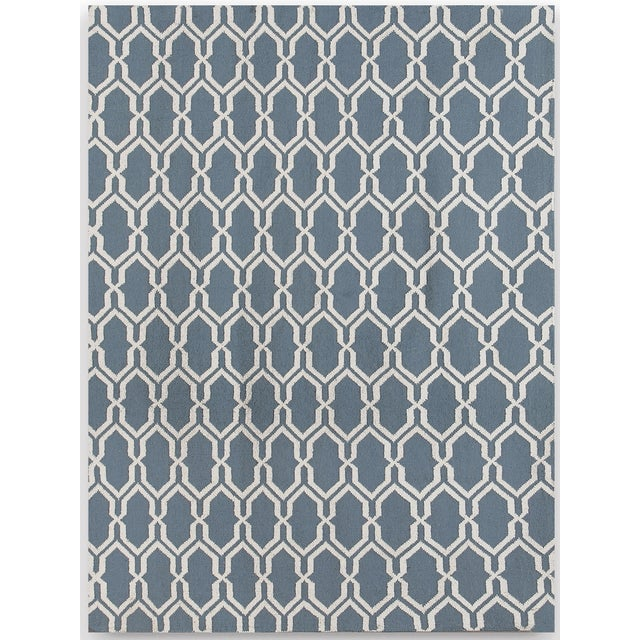 Zara Trellis Blue Flat-Weave Rug 8'x10' For Sale - Image 4 of 4