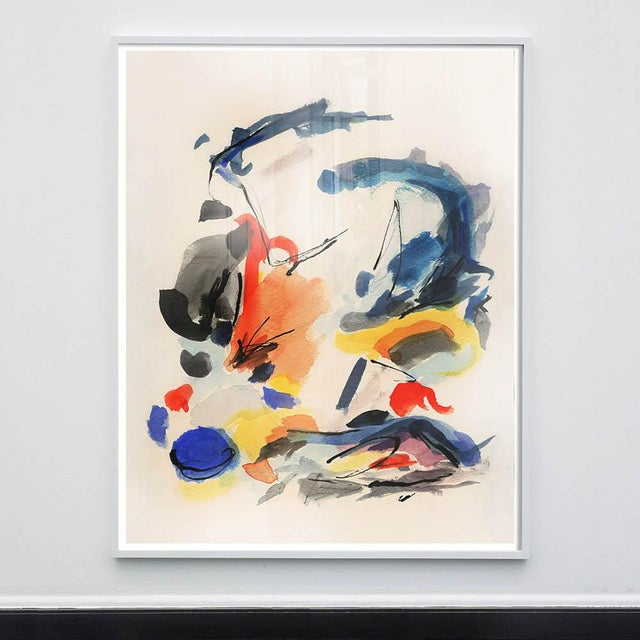 Mid-Century Modern Colorful Print With Primary Colors - Framed Giclée on Watercolor Paper For Sale - Image 4 of 4