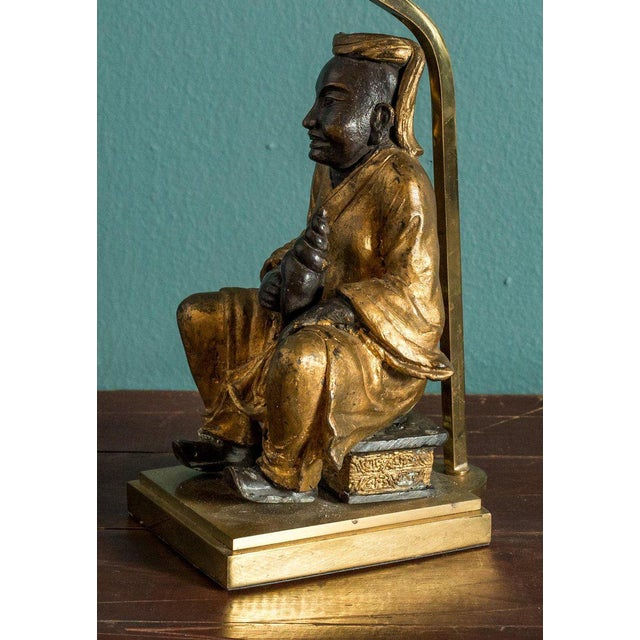 Asian Bronze Figural Table Lamp For Sale - Image 3 of 5