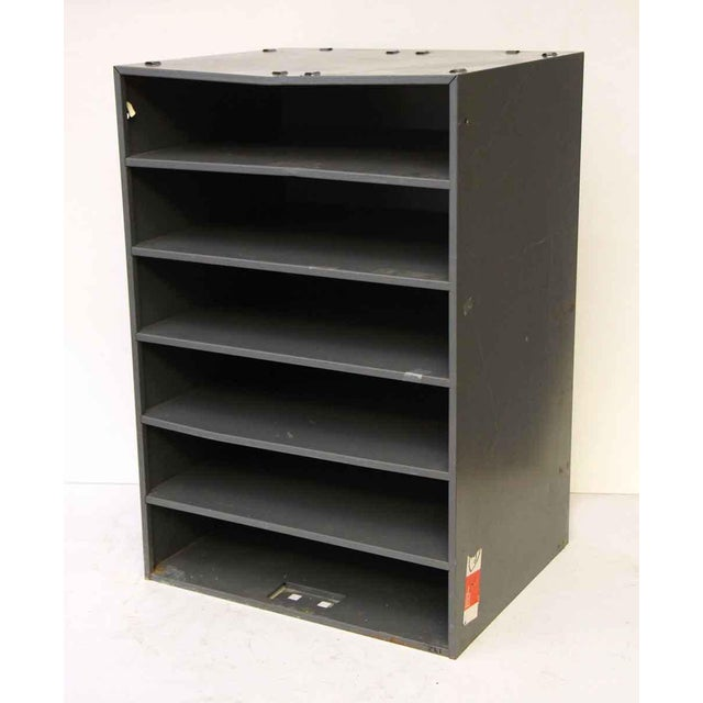 Six shelf metal mini cabinet. Great for an office.