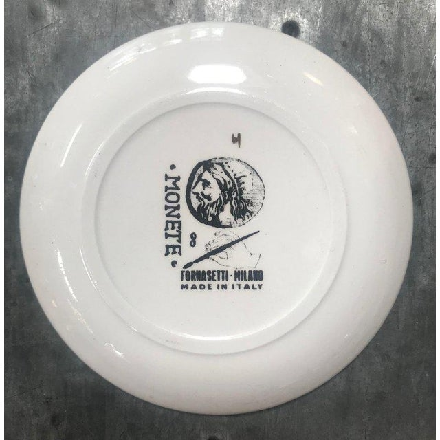 """Set of Eight Vintage Piero Fornasetti """"Monete"""" Little Plates, Italy, 1970s For Sale In Los Angeles - Image 6 of 8"""