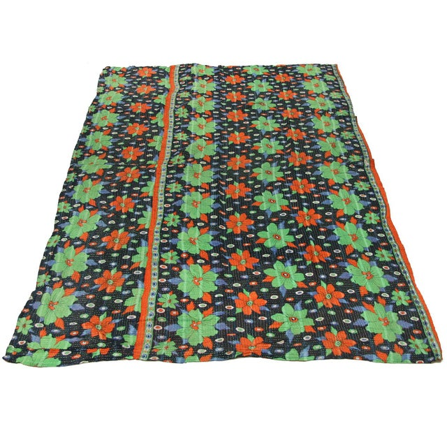 Rug & Relic Vintage Teal and Orange Daisy Kantha Quilt - Image 2 of 3