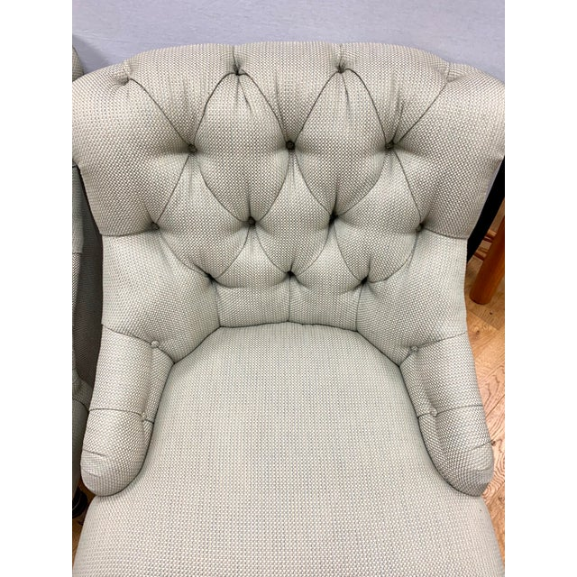 Traditional Ralph Lauren Tufted Upholstered Chairs, a Pair For Sale - Image 3 of 13