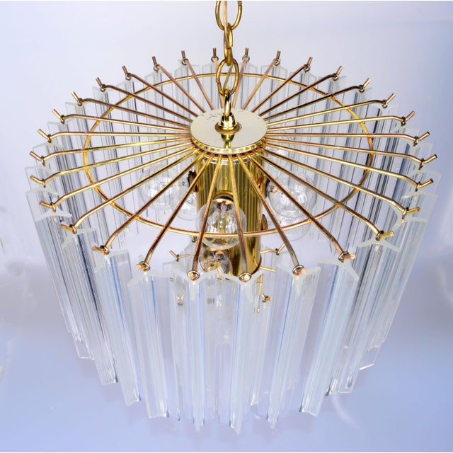 Round Two Tier Brass and Lucite Chandelier - Image 5 of 11