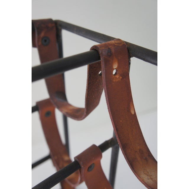 Mid-Century Modern Arthur Umanoff Sculptural Wrought Iron and Leather Wine Rack For Sale - Image 10 of 13