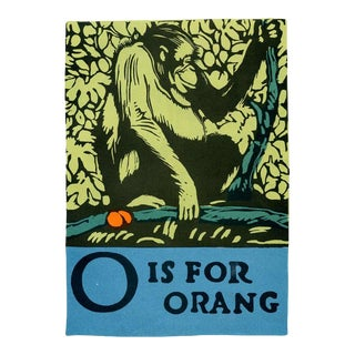 O Is for Orang, 1920s Lithograph, Children's ABCs For Sale