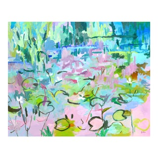 """Contemporary Impressionist """"Lily Pond in France"""" Oil Painting For Sale"""