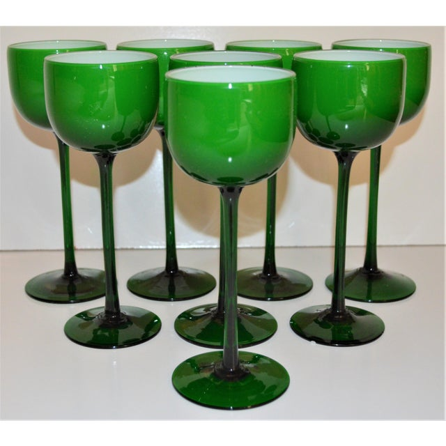 This is a FAB set of eight vintage wine glasses designed by Carlo Moretti in the 1960s. These glasses are in a beautiful...
