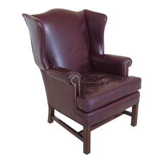 1980s Vintage Leathercraft Burgundy Leather Wing Back Chair For Sale