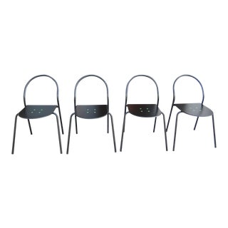 1980s Modern Black Metal Side Chairs - Set of 4