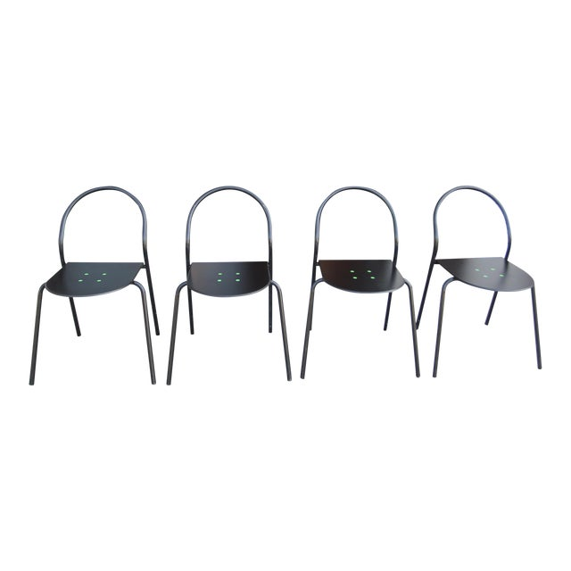 1980s Modern Black Metal Side Chairs - Set of 4 For Sale