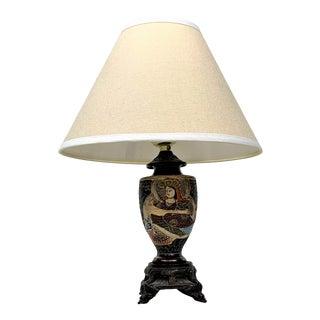 Vintage Japanese Lamp on Bronze Base For Sale