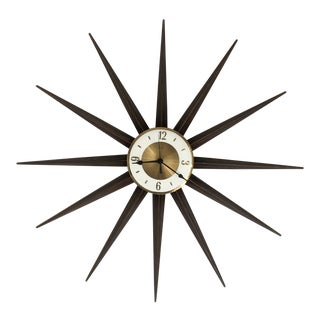 1950s Vintage Welby Starburst Wall Clock For Sale