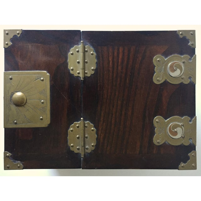 Gold Antique Chinese Rosewood Traveling Vanity Mirror / Box For Sale - Image 8 of 9