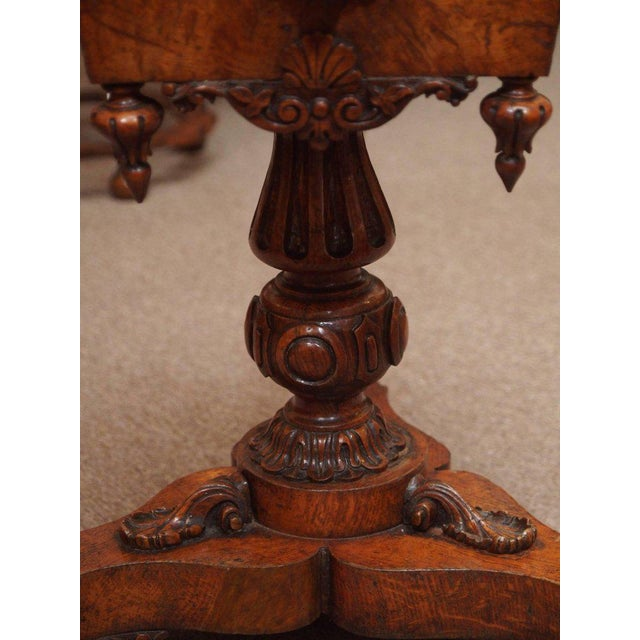 Burlwood Antique English 19th Century Carved Burled Walnut Tea Poy For Sale - Image 7 of 9