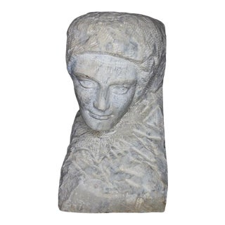 19th Century Alabaster Carved Figural Bust For Sale
