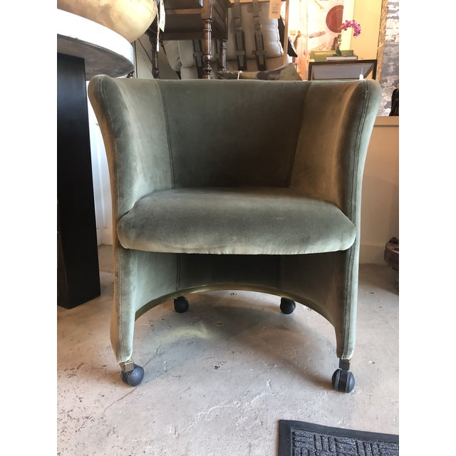 Vintage Rounded Club Chair on Casters For Sale - Image 4 of 4