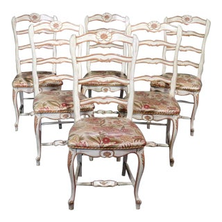 Vintage Mid Century French Ladderbac Louis XV Style Dining Chairs - Set of 6 For Sale