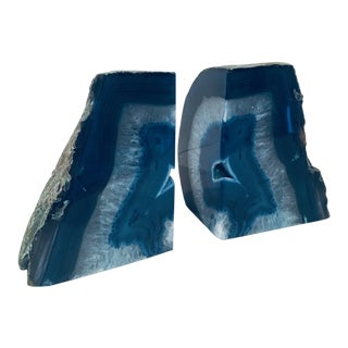 Blue Quartz Crystal Bookends - A Pair For Sale