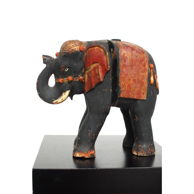 Antique Polychrome Carved Wood Elephant - Image 4 of 6
