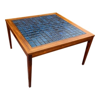 Rosewood & Blue Tile Top Danish Coffee Table For Sale