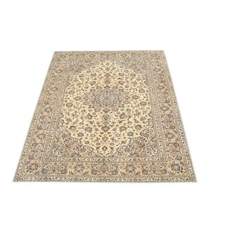 Late 20th Century Yellow Bright Warm Kashan Rug- 8′2″ × 11′2″ For Sale