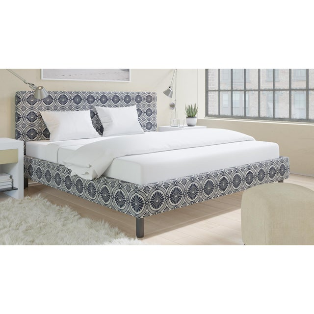 The Inside King Tailored Platform Bed in Midnight Lellani For Sale - Image 4 of 6