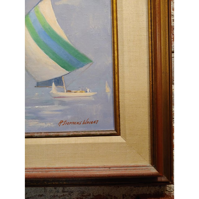 1960s Redmond Stephens Wright - Colorful Sailing Boats -Oil Painting For Sale - Image 5 of 8