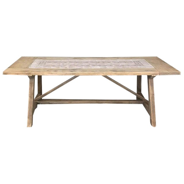 19th Century Spanish Table With Marble Tiles For Sale
