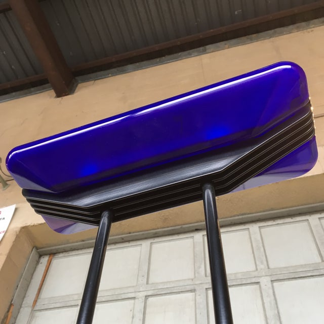 Art Deco Vintage 1980s Barbieri and Marianelli Floor Lamp With Cobalt Blue Glass Shade and Steel Frame For Sale - Image 3 of 8