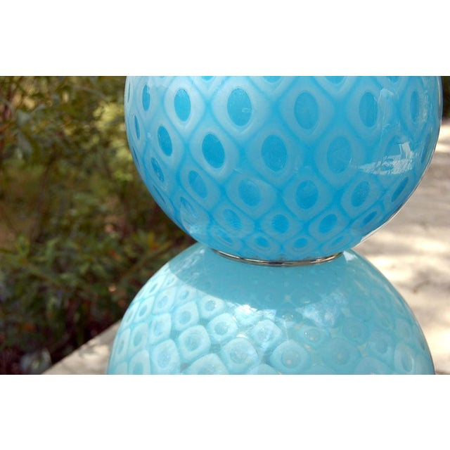 Brass Galliano Ferro Vintage Murano Glass Table Lamps Blue For Sale - Image 7 of 11