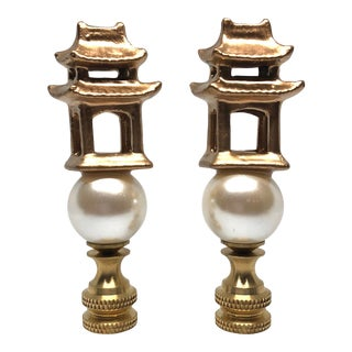 Gold Lacquered Porcelain Pagodas and Pearl Lamp Finials - a Pair For Sale