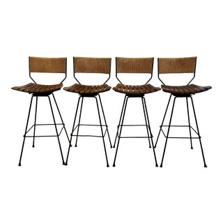 1960s Mid Century Arthur Umanoff Wrought Iron Bar Stools- Set of 4 For Sale