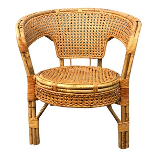 Vintage Mid Century Turtoiseshell Bamboo and Wicker Chair For Sale