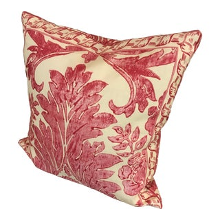 "Rococo Pillow From Scalamandre Linen Print ""Luciana Damask"" in Raspberry For Sale"
