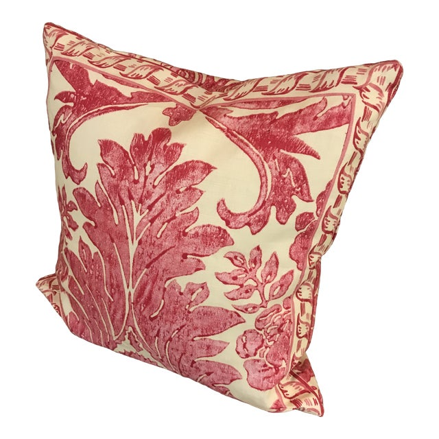 """Rococo Pillow From Scalamandre Linen Print """"Luciana Damask"""" in Raspberry For Sale"""
