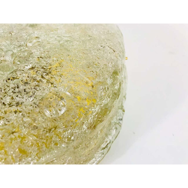 1960s Midcentury Round Ice Glass Flush Mount by Hillebrand, 1960s For Sale - Image 5 of 9