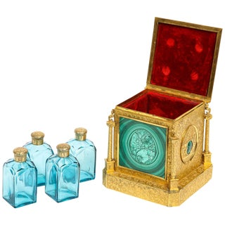 Exquisite Quality Napoleon III Engraved Ormolu and Malachite Perfume Bottle Box For Sale