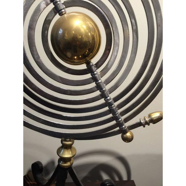 1980s Chrome and Brass Armillary With Teak and Iron Base For Sale - Image 5 of 7