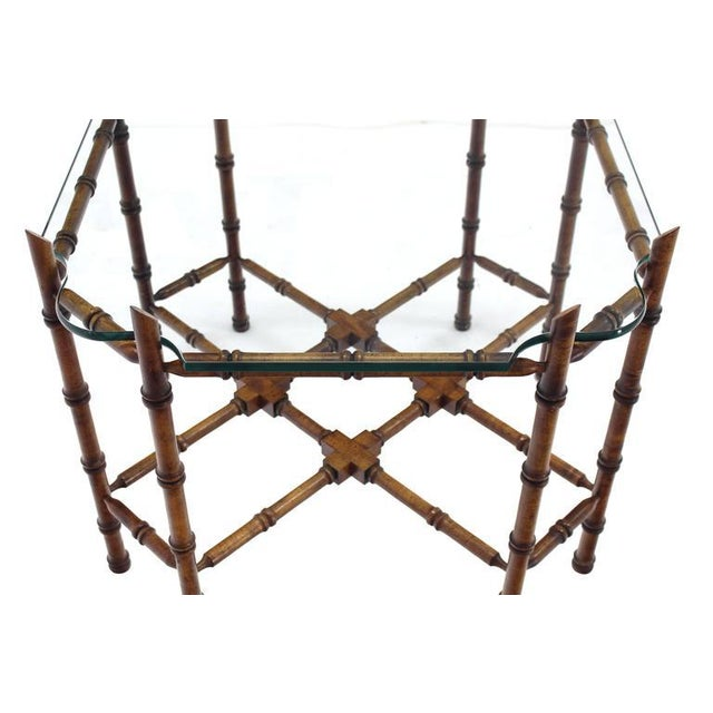 Faux Bamboo Glass Top Side Table For Sale - Image 9 of 9