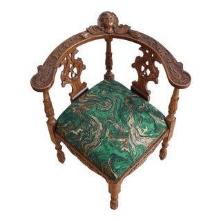 Victorian Hand Carved Corner Chair- Green and Gold Marble
