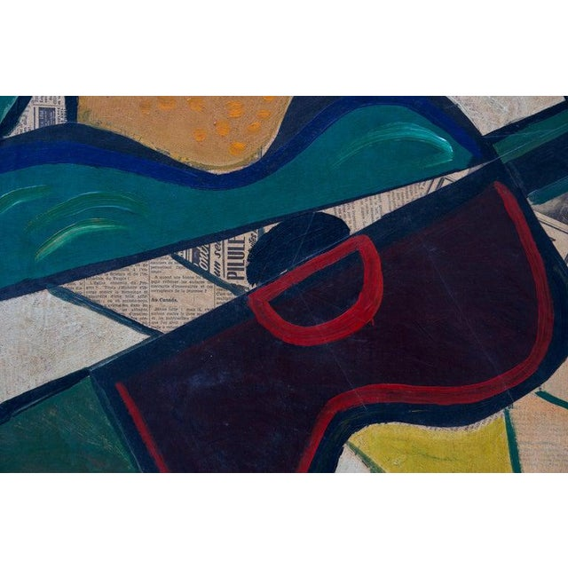 Found Objects 1956 Cubist Guitar Mixed Medium on Board Painting by Jean Lacoste For Sale - Image 7 of 8