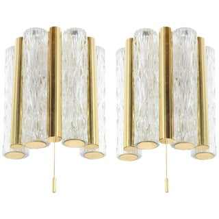 1950s Germany Murano Glass and Brass Sconces by Doria Leuchten - a Pair For Sale