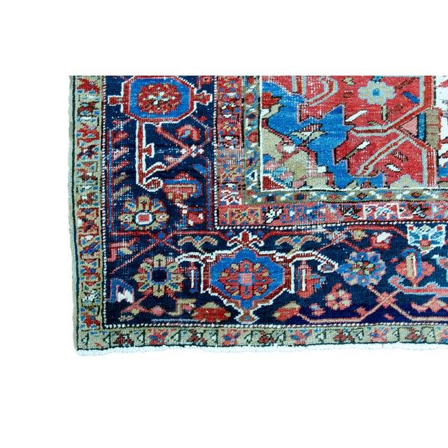 """Antique Persian Heriz Rug - 8' 10"""" x 11' 2"""" - Image 8 of 9"""