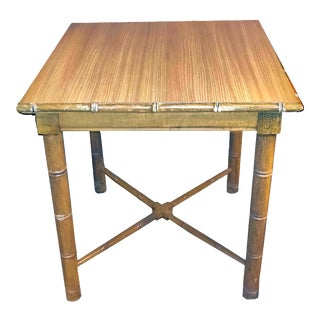 1950s Boho Chic Natural Wood Grain Formica Topped Faux Rattan Side Table For Sale